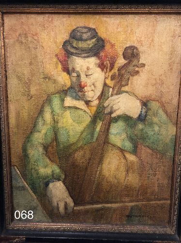 Fabulous Clown Oil on Canvas Painting signed Butterfield