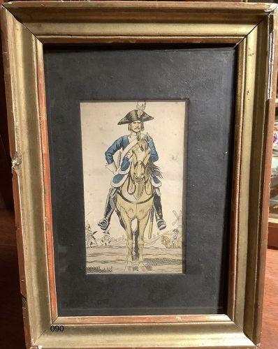 18th century print Soldier on Horseback 11�x8�