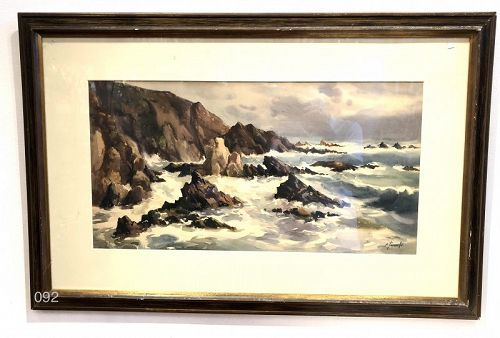 Seascape Watercolor Signed Touroulle