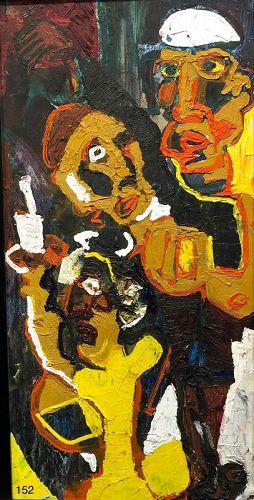 OutsiderArtist Nathan Motley Abstract Trio Original Painting