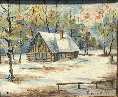 Pierce Mill Rock Creek Log Cabin in Snow 16�x18� oil on canvas