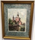 Ukrainian Church Watercolor by A. Bolatnrev Engraving