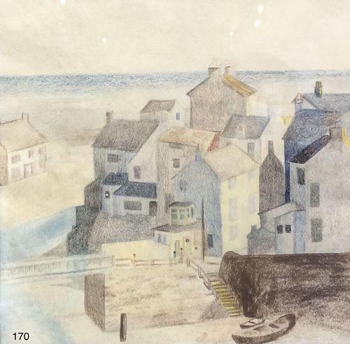 Artist C. Canciel Cubist Village inspired by the work of Cezeanne