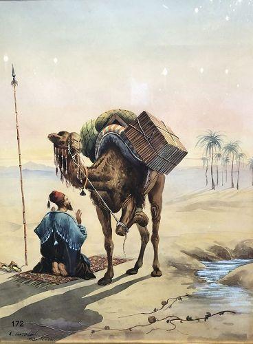Desert Arab Scene Watercolor artist A. Vartanian 1953