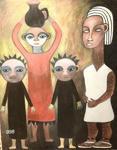 Ivory Coast Artist Ephrem Kouakou �The Twin Sisters� oil on canvas