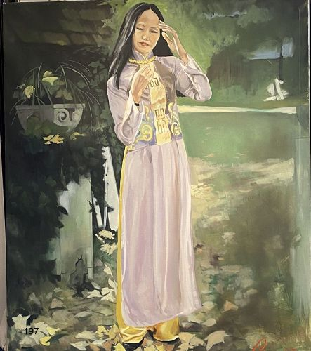Lovely Portrait in the Garden, Artist Wife Li, Artist Paco Lane