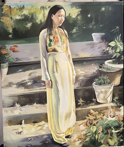Artist Paco Lane, Portrait of Li Standing on the Steps, Oil on canvas