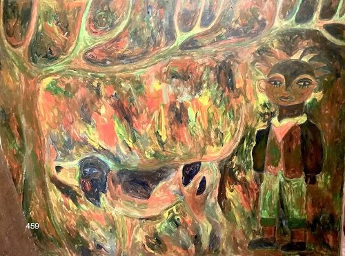 Artist Ephrem Kouakou Abstract Figure Master Oil on Canvas