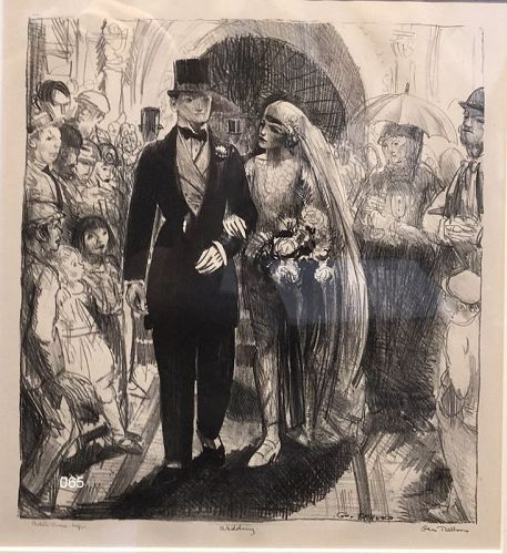 """George Bellows American artist """"The Wedding"""" Artist Proof Lithograph"""