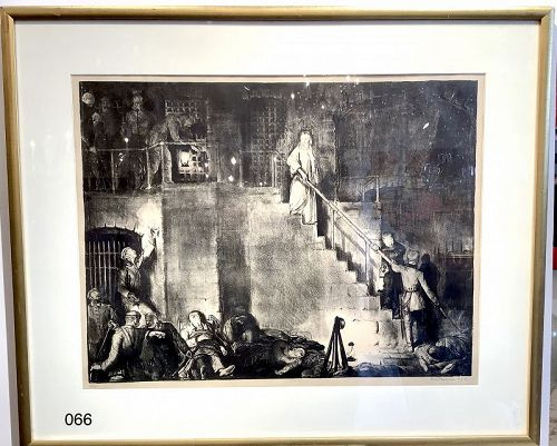Murder of Edith Cavel by George Bellows Lithograph Rare