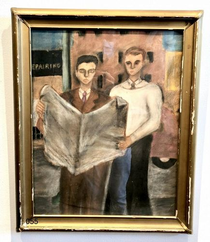 Unknown Artist 1940s MODERNIST OIL FIGUES READING
