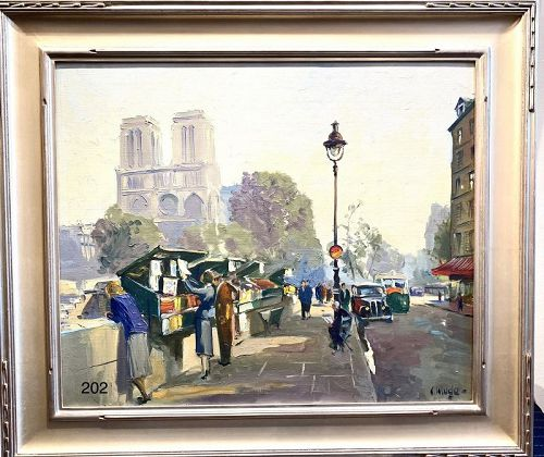 Paris Book Sellers Notre Dame by Artist C. Kluge 20�x25� OilCanvas