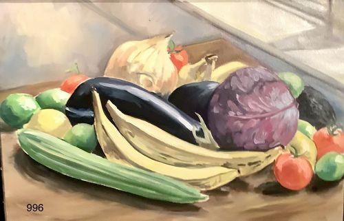 American Master Paco Lane  Still Life with Vegetables