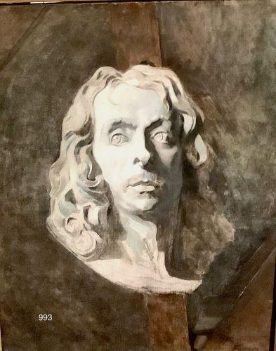 Unsigned Greek Sculpture Portrait Oil on Canvas