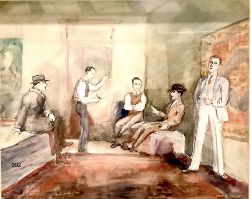 Beautifully Painted Literary Meeting, watercolor unsigned 1930s