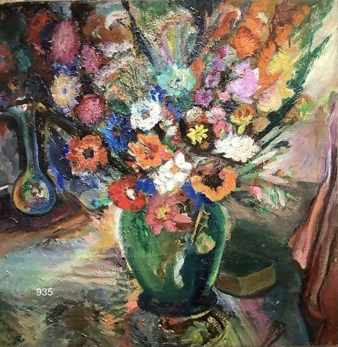 Brilliantly Painted Floral Still Life unsigned Oil on Canvas