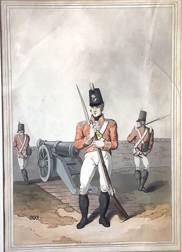 East York Militia hand colored aquatint �Robinson�