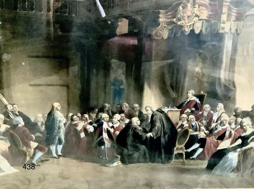 Benjamin Franklin at the Court of St. James, Hand Colored Lithograph