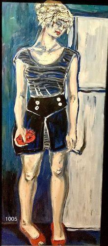 Anne LANE Renowned Washington Artist, Woman Series 48 x 20 oil
