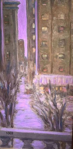 Glenn PIZER American Modernist �Cityscape Manhattan� Oil 24x14