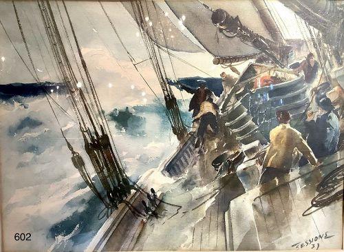 JAMES MILTON SESSION Marine Painter Watercolor 17 x 24� 1937