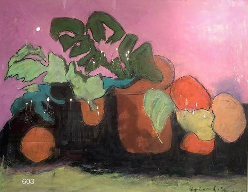 Kathleen HYLAND-NESVIG Artist oil on Paper �Fruit Pink Study� 22 x 27�