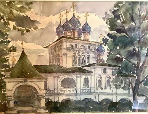 Russian Orthodox Church Watercolor by unknown artist