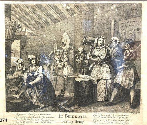 "Eighteenth Century Print ""In Bridewell Beatling Hemp"""