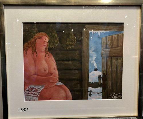 Russian Artist A. SINOCHKIN FIGURE IN A DACHA WATERCOLOR