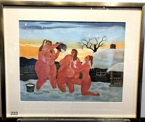 Russian Artist A. SINOCHKIN �Trio Playing in the Snow� watercolor