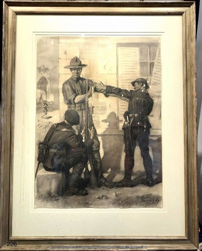 "WWI Original Painting ""Present Arms"" J. B. Lomack American,1888-1980"