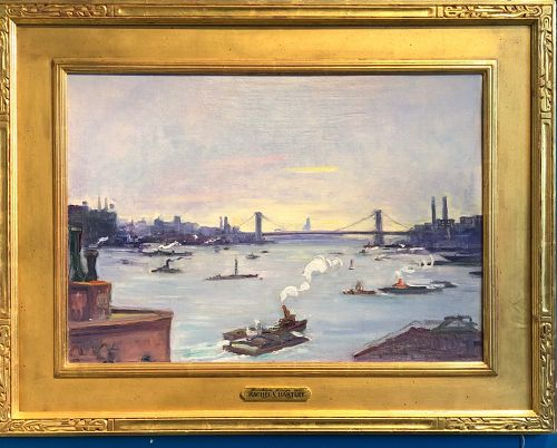 American artist Rachel V  Hartley Few of the Brooklyn Bridge oil 16x24