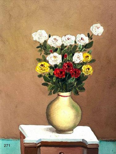 "Italian Still Life with Flowers by C.D. Mirani Oil 13x10"""