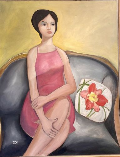 Girl On a Sofa with a Pillow by Artist Paco Lane Oil 56x45 inches