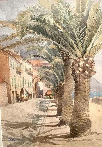 Lago Maggiore late Nineteenth Century watercolor Artist B. Clark