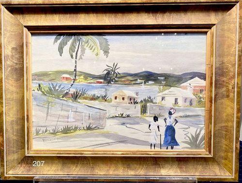 "Artist Alfred Birdsey,1912-1996 ""Island Scene"" Bermuda watercolor"