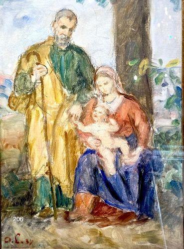 "Oldrich LAZAK Slovenian Artist ""Holy Family""1884 oil painting"