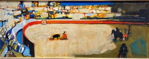 """Artist Georges BRIATA """"The Bull Fighters"""" oil on canvas 14x37"""