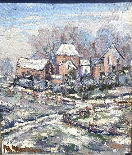 """Artist Maggy Monier French """"Winter In Normandy"""" oil 1930s"""