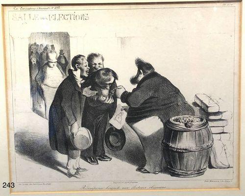 "French artist Honoré Daumier ""Salees des Elections"" lithograph 10x12"""