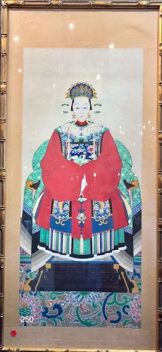 """Chinese Ancestor Portrait """"Seated Woman"""" Tempera on Silk 48x22 inch"""