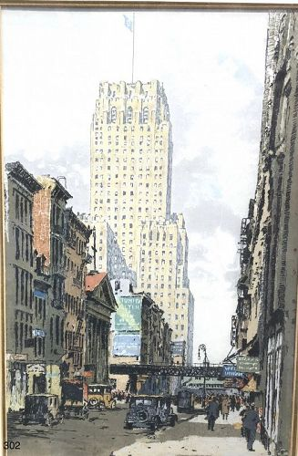 NYC ETCHING Artist Luigi Kashmir �The Telephone Building� 1920s