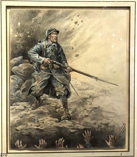 WWI Watercolor Jacques Onfray de Breville signed JOB 1917