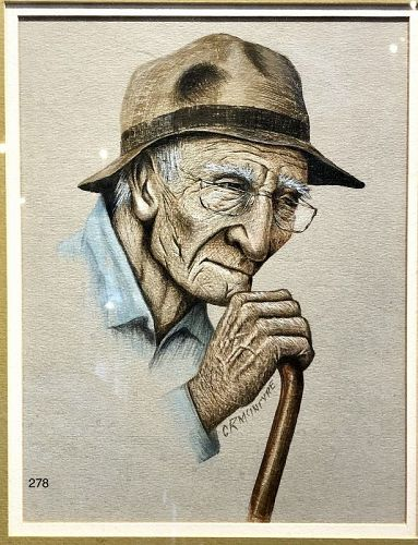 Artist C.R. McIntyre, Old Gentleman Mixed Media