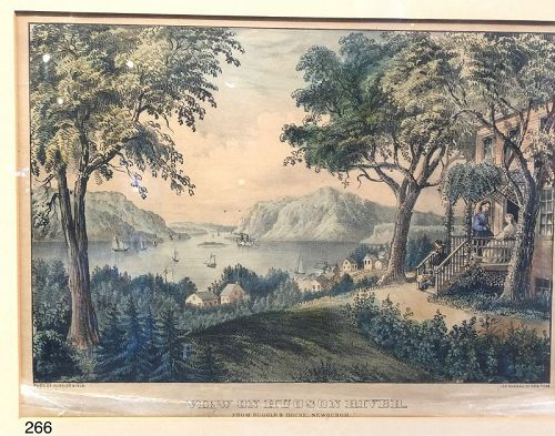 Courier and Ives �View of Hudson River� nineteenth Century Print