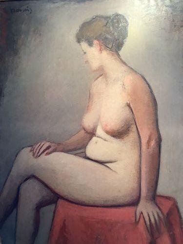 "Florida Artist Purdy ""Nude Sitting"" oil on canvas"