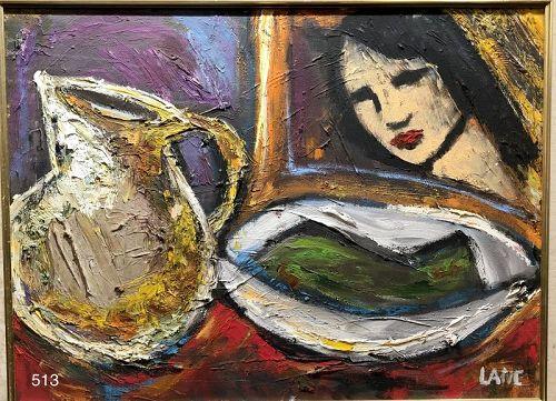 "American Master Anne Lane ""Tilapia Festival"" oil abstract"