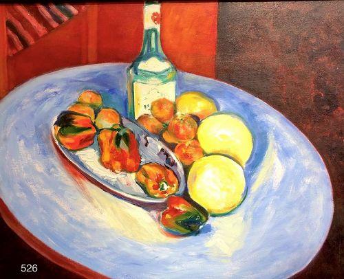 Joe James, Jamaican born 1936 fruit life with peppers