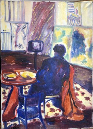 """Jamaica Artist Joe James """"Mrs James Relaxing"""" oil 34 x 24"""""""