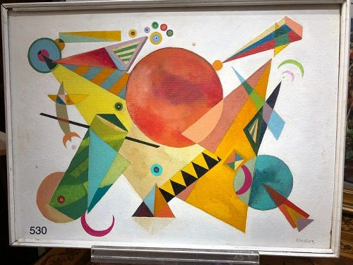 """American Modernist Max Kassler, Abstract Spaces Oil 34 x 24"""""""